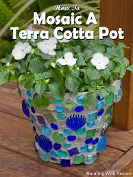 Mosaic Pots Designs How To Mosaic A Terra Cotta Pot Running With Sisters