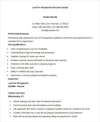 law firm receptionist resume sample samples of receptionist resumes