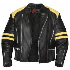 black motorcycle jacket with yellow stripes black leather jacket mens
