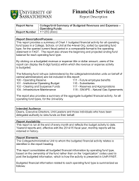 operating statement format financial services report description
