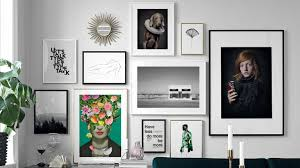 wall gallery with diffe frames