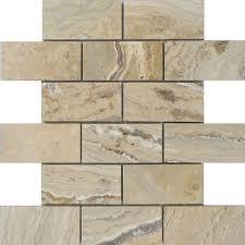allen roth a r beige brick mosaic travertine subway tile common 12