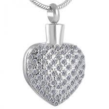clear crystal heart cremation necklace pendant