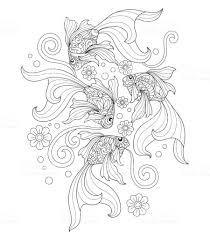 Hand Getrokken Goudvis Kunst Voor Volwassen Kleurplaat