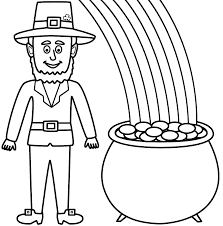 Small Picture Leprechaun with pot of gold and rainbow Coloring Page St
