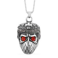 red and black austrian crystal black oxidized stainless steel muzzled skull pendant with chain 24 in pendants jewelry