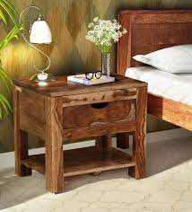 tulsa solid wood bed side table in