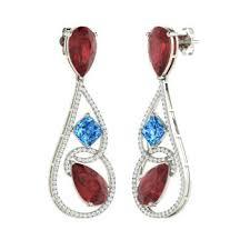 pear cut garnet chandelier earring in 14k white gold with blue topaz vs diamond