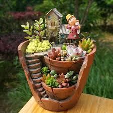garden plant pots creative resin decorative succulent plant pot for fairy garden desktop flower pot home garden plant pots