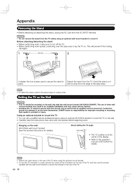 appendix removing the stand setting the tv on the wall sharp aquos lc 40e77un user manual page 40 47