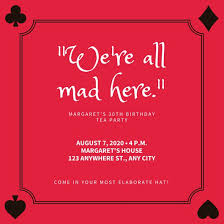 tea party templates red card suits border mad hatter tea party invitation templates by