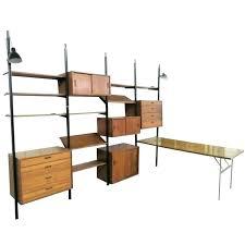 mid century modern bookshelf bookcase with glass wall shelves diy using bras