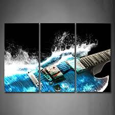 clever design ideas guitar wall art home decoration com in blue and waves looks beautiful
