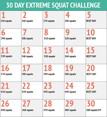 30 Day Squats Fitness Challenge Chart 30 Day Workout