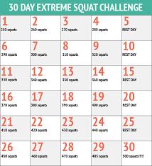 30 Day Beachbody Challenge Chart 30 Day Squats Fitness Challenge Chart 30 Day Workout