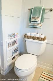 Bathtub Magazine Holder Bathroom DIY Magazine Rack tutorial Four Generations One Roof 2