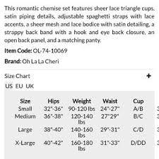 Yandy Size Chart Romantic Chemise Set Nwt