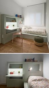 This Small Kids Bedroom Combines The Bed Frame, A Desk, And Shelves To Save  Space