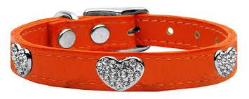 home collars bling collars crystal heart collars crystal heart genuine leather dog collar crystal heart genuine leather dog collar orange 14