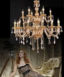 hotel large crystal chandelier modern european style crystal chandelier noble lights luxury champagne gold chandeliers classical chandelier foyer room