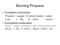 burning propane complete combustion incomplete combustion