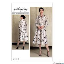 Vogue Pattern Mesmerizing Vogue Pattern V48 Misses' HalfPlacket Long Sleeve Shirtdress