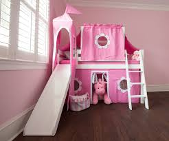 image of loft bed with slide and tent girls
