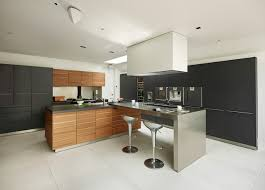 image modern kitchen. Example Of A Trendy Kitchen Design In Cheshire With Flat-panel Cabinets, Medium Tone Image Modern _
