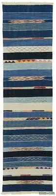 light blue blue new turkish kilim runner rug