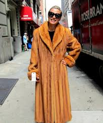 pre owned whiskey dyed let out female mink coat size 8 10