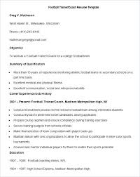 Football Coaching Resume Template Sample Football Trainer Coach Resume College Template