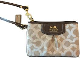 Coach Monogram Leather Wristlet in Brown and Gold ...