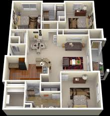 bedroom floor design. Apartment House Plans Designs 50 Three \u201c3\u201d Bedroom Apartmenthouse Architecture \u0026 Design Floor