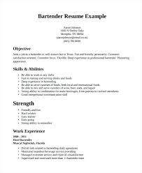 Bartending Resume Templates With No Experience Bartender Template