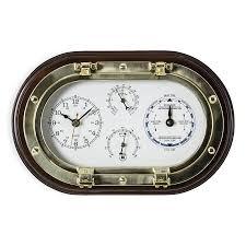 brass porthole clock tide clock thermo hygro on mahogany wooden plaque