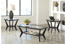 Modern Glass Top Living Room Table Set