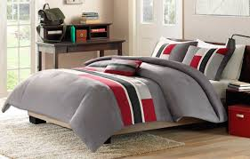 ... Piece Red Grey Black Comforter Set Full Queen Bed Size Modern Stripe  Bedding And Gray Sets