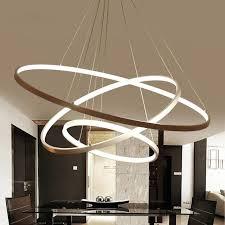 hanging chandelier light fixture white or black modern aluminum led circle rings hanging pendant chandelier lights for living room acrylic pendant