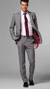 Light Grey And Burgundy Suit Wedding Groom Men Suits Jacket Pants Tie Custom Made