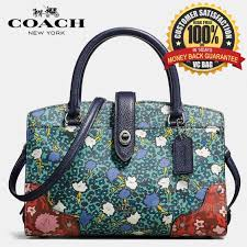 COACH F57703 Mercer Satchel 24 in Multi Foral Printed Leather Bag  Dark  Antique Nickel