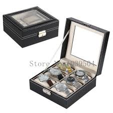 personalized mens watch box promotion shop for promotional shipping square 6 grids brand watches box black top watch display box fashion watch storage and bragelet boxes case w167