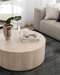 elle round block coffee table natural