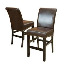 brown leather studded counter stool set of 2