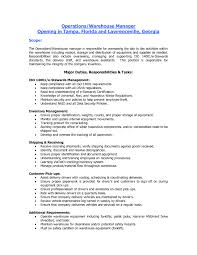 Warehouse Responsibilities Resume Reference Duties A Warehouse