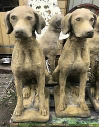 pair of dog statues pointer retriever