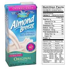 almond breeze almond milk 8 oz serving 60 calories 2 5 g fat 1 protein 8 carbohydrates