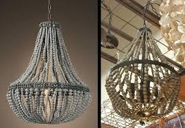 wooden beaded chandelier vintage retro white wooden bead