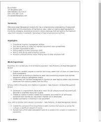 1 Asset Management Analyst Resume Templates Try Them Now