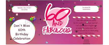 invitation with image celebrate 60th birthday invitation card