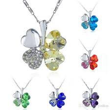 2019 band new fashion austrian crystal lucky clover necklace women s sweet alloy necklace yp053 arts and crafts pendant with chain from yisilian